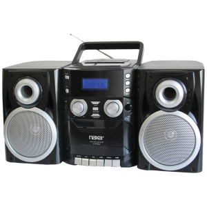 Portable CD Player with AM/FM Radio, Cassette & Detachable Speakers