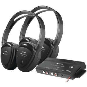 2 Sets of 2-Channel RF 900MHz Wireless Headphones with Transmitter for Power Acoustik® Mobile A/V Systems