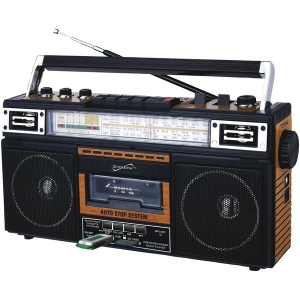 Retro 4-Band Radio and Cassette Player with Bluetooth (Wood)