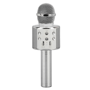 Wireless Bluetooth Microphone with Built-in Hi-Fi Speaker (Silver)