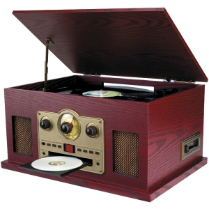Nostalgia 5-in-1 Turntable/CD/Radio/Cassette Player with Auxiliary Input