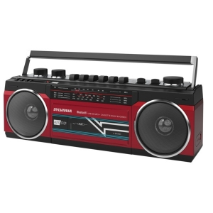 Bluetooth Retro Cassette Boombox with FM Radio (Red)